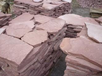 Sandstein red, spaltrau, 2,5 - 3,5 cm dick