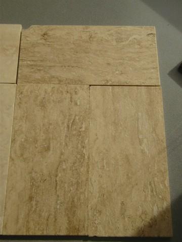 Travertin beige/medium, Vein Cut, gespachtelt, geschliffen + gebürstet