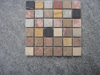 Travertine + Marmor alle Farben, getrommelt, 25 x 25 mm