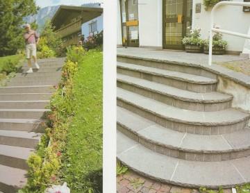 Treppenanlagen als Blockstufen und Tritt- und Setzstufen