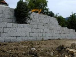 Mauersteine gespalten, Granit grau