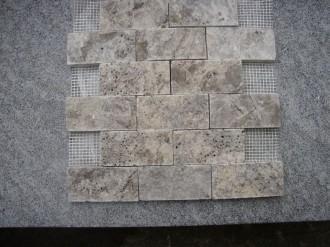 Travertin silber, gespalten, 100 x 50 mm