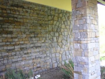 Mauersteine in verschiedenen Verbänden, Rückseite gesägt